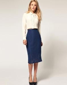 Кружевная юбка-карандаш ASOS-Синий