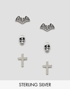 Серебряные серьги-гвоздики Kingsley Ryan Halloween-Серебряный