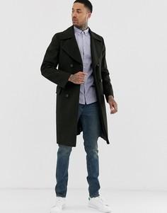Длинное двубортное шерстяное пальто Tommy Hilfiger-Черный