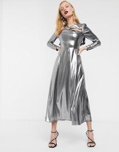 Платье миди металлик с длинными рукавами ASOS WHITE-Серебряный