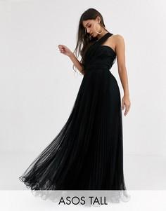Платье макси из тюля на одно плечо с проволочной отделкой по краю ASOS DESIGN Tall-Черный