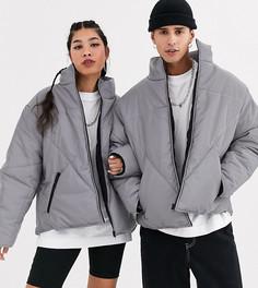 Серая дутая куртка унисекс со светоотражающей отделкой COLLUSION-Серый