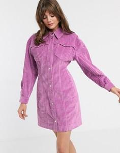 Вельветовое платье-рубашка с объемными плечами ASOS WHITE-Розовый