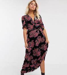 Черное бархатное платье макси с оборками и цветочным рисунком Twisted Wunder-Черный