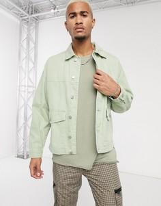 Зеленая джинсовая куртка Bershka-Зеленый