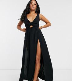 Черное пляжное платье макси с завязкой и драпировкой ASOS DESIGN PETITE-Черный