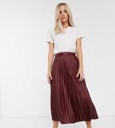 Плиссированная юбка миди из искусственной кожи ASOS DESIGN Petite-Красный