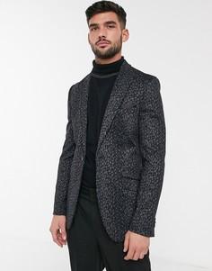 Трикотажный пиджак с леопардовым принтом Burton Menswear-Черный