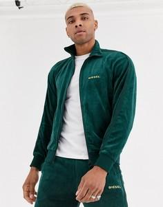 Зеленая велюровая спортивная куртка на молнии Diesel-Зеленый