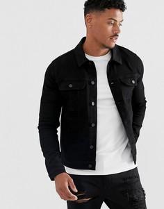 Черная приталенная джинсовая куртка в стиле вестерн ASOS DESIGN-Черный