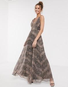 Платье макси с глубоким вырезом и змеиным принтом металлик Forever U-Мульти