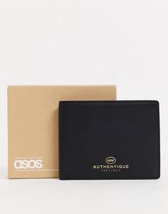 Черный кожаный бумажник с тисненым логотипом ASOS DESIGN