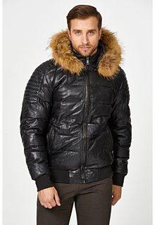 Утепленная кожаная куртка с отделкой мехом енота Urban Fashion for men