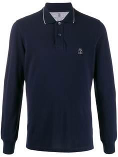 Brunello Cucinelli рубашка-поло с вышитым логотипом