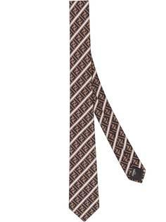 Fendi галстук в полоску с логотипом FF
