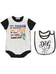 Dolce & Gabbana Kids комплект нагрудника и боди с принтом