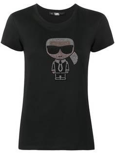 Karl Lagerfeld футболка Ikonik Karl со стразами