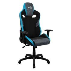 Кресло игровое AEROCOOL Count Steel Blue, на колесиках, ткань, черный/синий