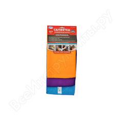 Салфетки из микрофибры - махра 3-х разных цветов 30x30 - в упаковке autovirazh av-018013