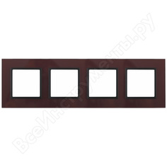 Рамка эра 14-5104-25 на 4 поста, стекло, elegance, бордо+антрацит б0034533