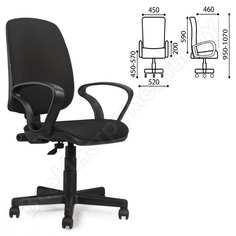 Кресло оператора, с подлокотниками, черное jp-15-2, brabix basic mg-310 531409