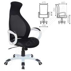 Офисное кресло, пластик белый, ткань/экокожа/сетка черная, brabix genesis ex-517 531573