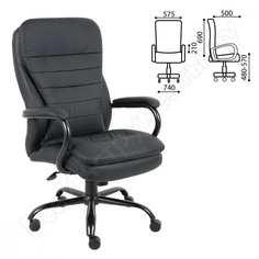 Офисное кресло, усиленная конструкция, нагрузка до 200 кг, экокожа, brabix heavy duty hd-001 531015