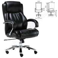 Офисное кресло, нагрузка до 250 кг, рециклированная кожа, хром, черное brabix status hd-003 531821