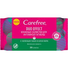 Салфетки для интимной гигиены Carefree Duo Effect с Зеленым чаем и Алоэ вера 20 шт