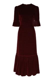 Бордовое вельветовое платье миди Galina Podzolko