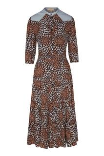 Платье-рубашка с кожаной кокеткой Like Yana