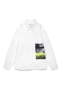 Белая рубашка с контрастным принтом Calvin Klein