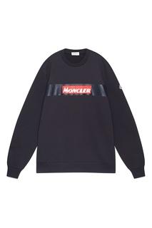 Темно-синий свитшот с логотипом Moncler