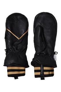 Варежки из черной кожи с графичными вставками Roxy