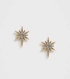 Серьги-гвоздики в виде звездочек со стразами Pieces-Золотой