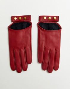 Красные кожаные перчатки для сенсорных экранов ASOS DESIGN-Красный