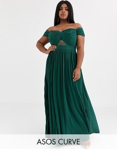 Платье макси с открытыми плечами, плиссировкой и кружевом ASOS DESIGN Curve-Зеленый
