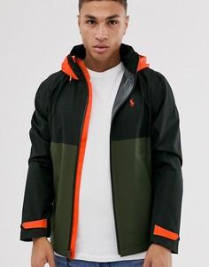 Черно-зеленая водонепроницаемая куртка в стиле колор блок с капюшоном Polo Ralph Lauren-Черный