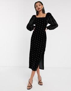 Бархатное платье макси с пышными рукавами и стразами ASOS DESIGN-Черный
