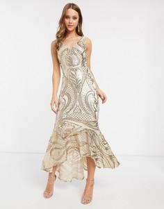 Золотистое платье макси с пайетками и асимметричным подолом Forever U-Золотой