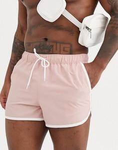 Розовые шорты для плавания с белой отделкой ASOS DESIGN-Розовый