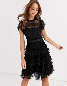 Черное ярусное платье мини с вышивкой Needle & Thread-Черный