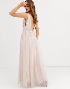 Розовое платье макси с юбкой из тюля и отделкой Needle & Thread-Розовый
