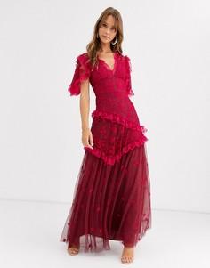 Красное платье с V-образным вырезом и вышивкой Needle & Thread-Красный