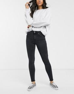 Черные джинсы скинни с завышенной талией Pieces-Черный