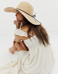 Натуральная соломенная шляпа с плетеным шнурком ASOS DESIGN-Коричневый