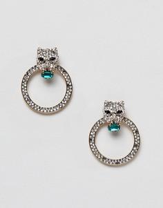 Серьги-кольца с дизайном в виде леопарда и камнями ALDO-Серебряный