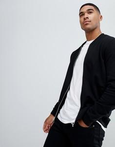 Черная трикотажная куртка‑пилот ASOS-Черный