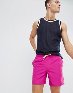 Фиолетовые шорты для плавания средней длины с затягивающимся шнурком неонового цвета ASOS DESIGN-Фиолетовый