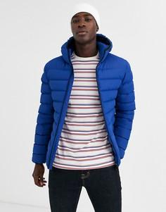 Дутая куртка на молнии с капюшоном French Connection-Синий